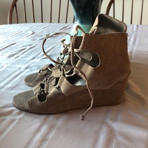 Suede wedge heel  lace up to ankle
